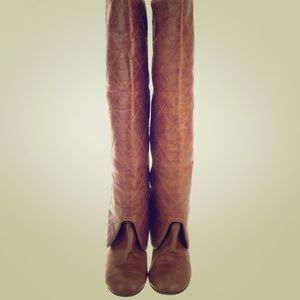 Chanel quilted brown leather boots